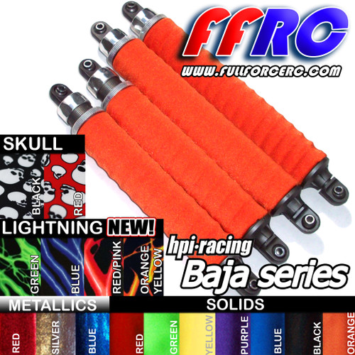HPI Baja shock boots are available in a variety of colors.  Choose the color that matches your paint scheme!  New colors added!