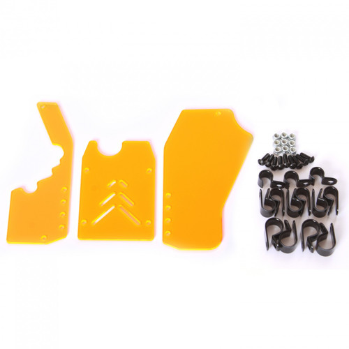 HPI Baja 3 piece rear window kit with hardware - Transparent Orange.