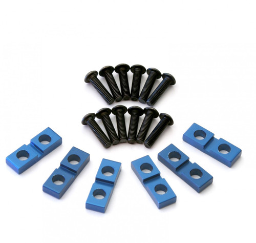 Set of 6 Aluminum Servo Clamps with hardware.  Blue versions.  For use with most 10th scale servos!