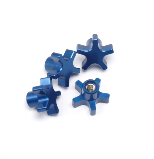 Traxxas T-MAXX E-MAXX 5 Spoke Blue Anodized locking hub nuts.  Get rid of those stock 5mm lock nuts and pop some of these in there!