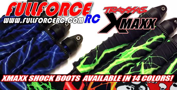 Traxxas X-MAXX Custom shock boots!  Add some style to you ride with these shock covers from Fullforce RC!