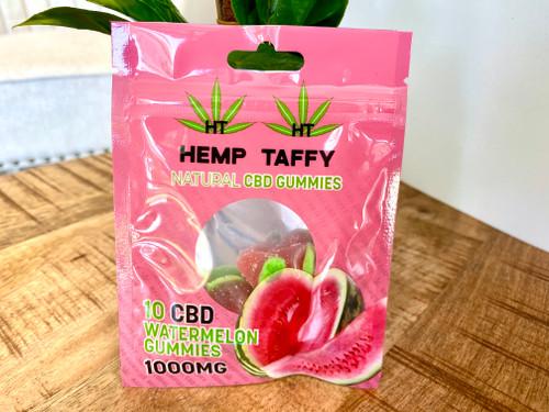 Hemp Taffy Natural Gummies 1000mg 10ct Watermelon