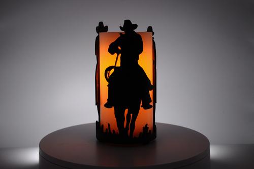 Riding Cowboys - Metal Candle Holder Luminary