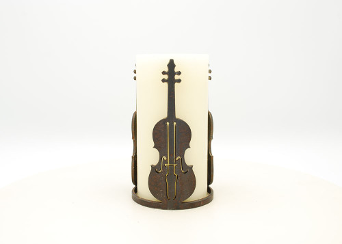 Fiddle or Bass - Metal Candle Holder Luminary