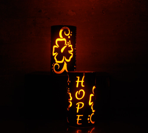 Hope and Hibiscus - Metal Candle Holder Luminary