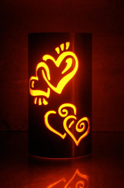 Custom Wedding Interlocking Hearts - Metal Candle Holder Luminary