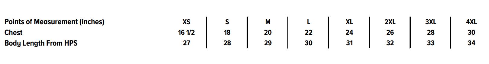 Sizing chart: