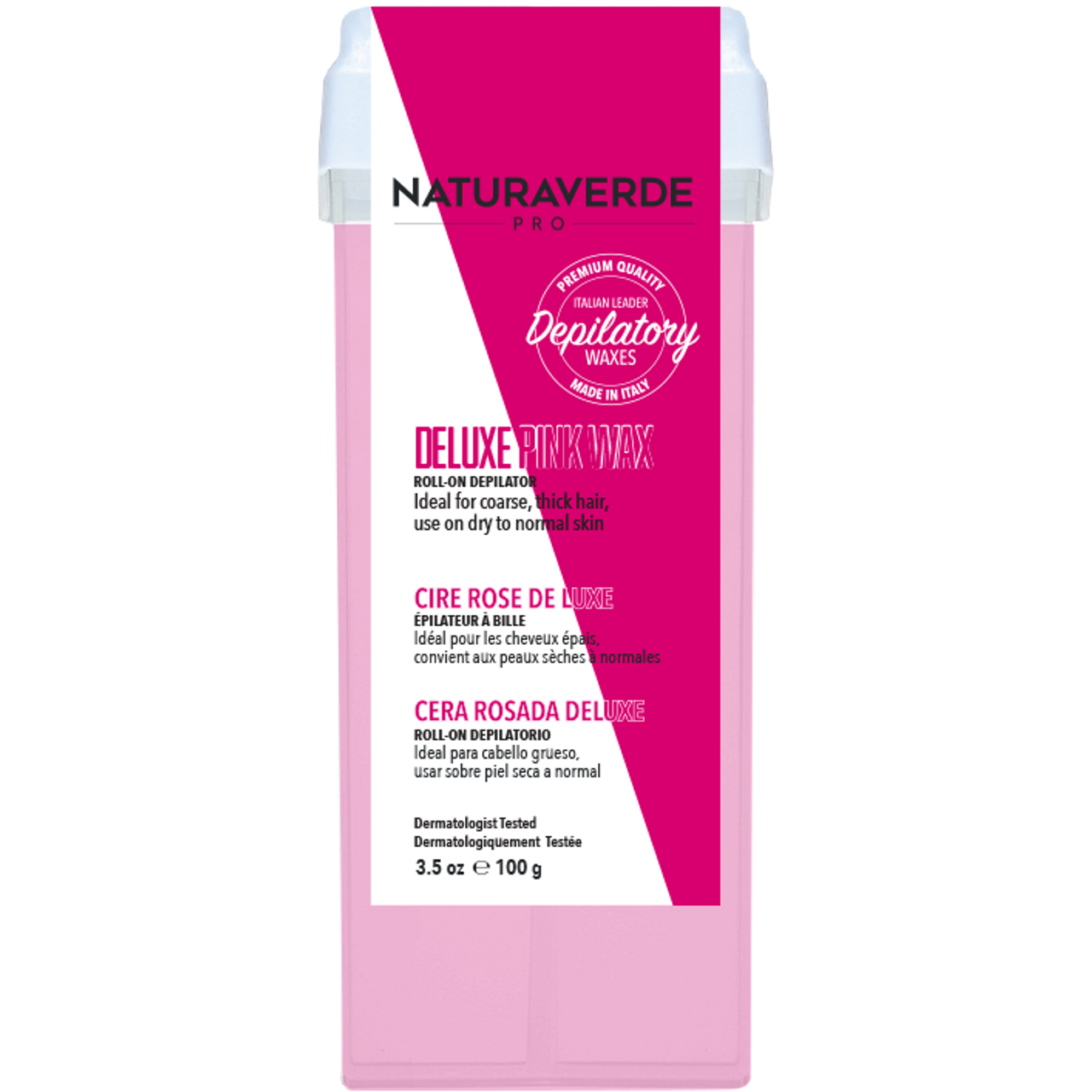 Natura Verde Pro Deluxe Pink Roll-On Wax 3.38 oz.