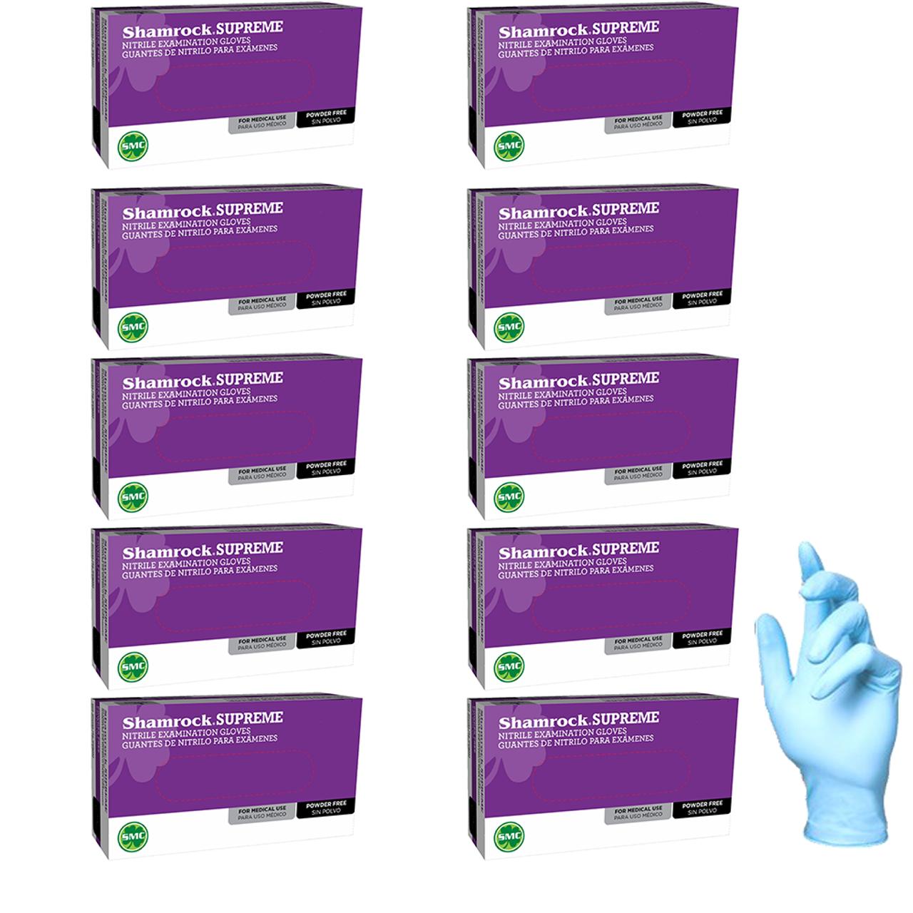 Shamrock Supreme Blue Nitrile Exam Gloves, Powder Free, Textured, Size Medium, Case pack of 950 gloves