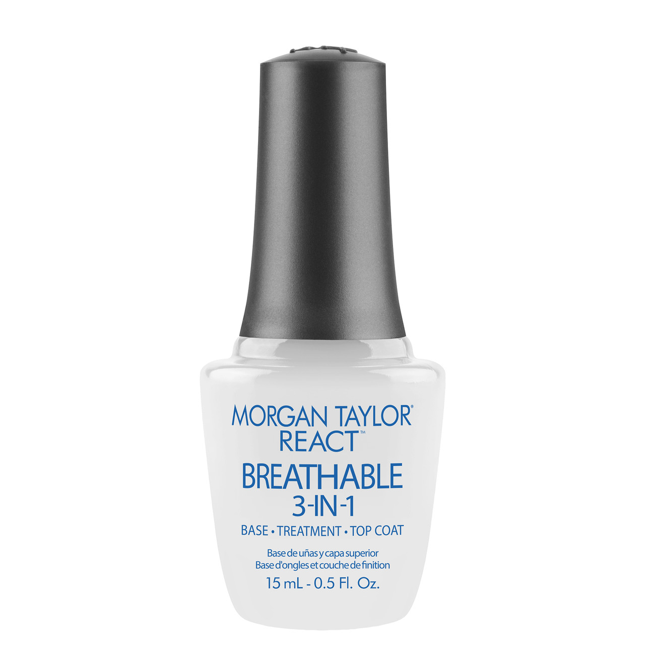 Morgan Taylor React Breathable, 3-in-1 Base Coat, Treatment, Top Coat, 15 mL   .5 fl. oz.