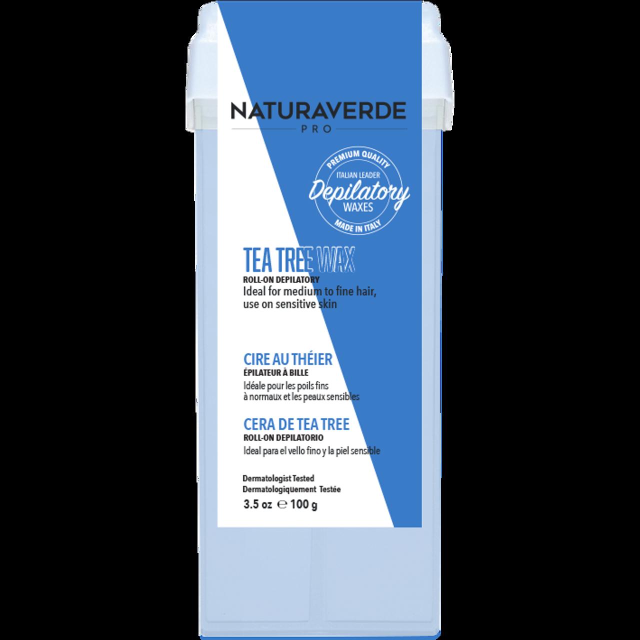 Naturaverde Pro Roll-On Wax Kit with Sensitive Tea Tree Wax - For medium/fine hair, sensitive skin
