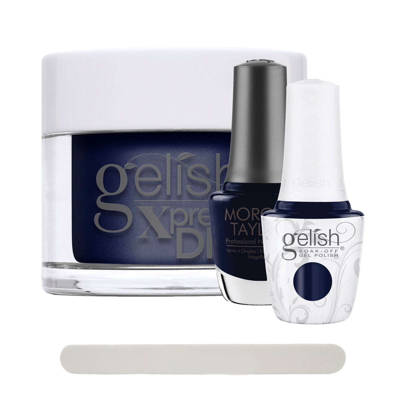 """Gelish """"Laying Low"""" 3 pc. Trio - Soak Off Gel Polish, Lacquer, and Dip - Rich Navy Blue Creme"""