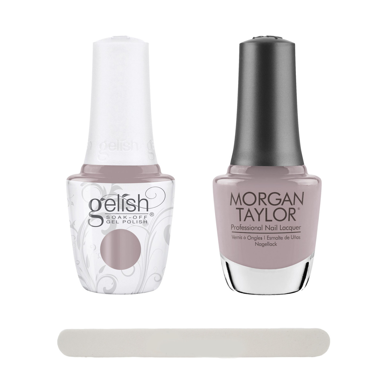 """Gelish """"Keep 'Em Guessing"""" 2 pc. Duo - Soak Off Gel Polish and Lacquer - Taupe Creme"""