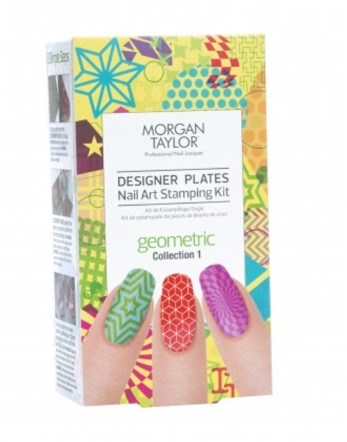Morgan Taylor Geometric Designer Plates Kit - Includes 2 Plates, 2 Plate Protectors, A Stamper, And A Scraper Card