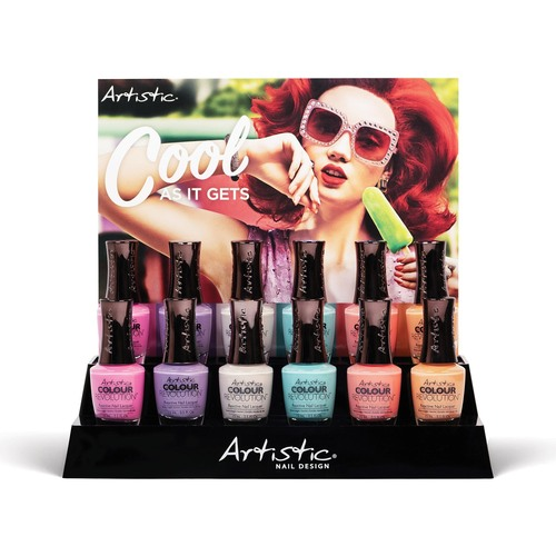 Artistic Nail Design Colour Revolution 12pc Display - Includes: 2 each of Lacquer, Painted Tent Card & Display