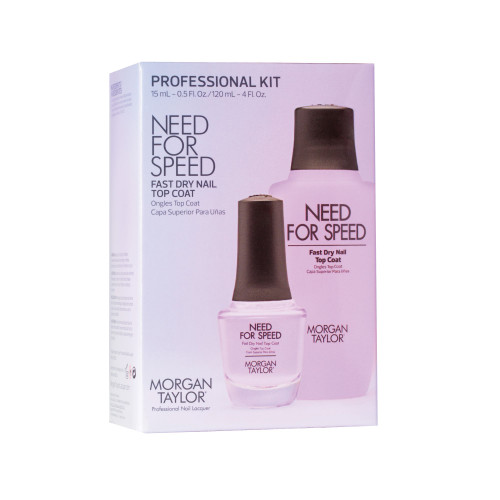 Morgan Taylor Need For Speed Top Coat Pro Kit - Includes 120ml Need For Speed Refill Bottle/Nozzle & A Need For Speed