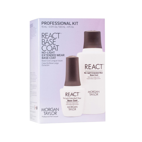 Morgan Taylor React Base Coat Pro Kit - Includes 120ml React Base Coat Refill Bottle/Nozzle + Free React Base Coat