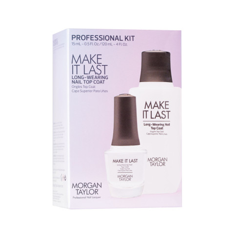 Morgan Taylor Make It Last Top Coat Pro Kit - Includes 120ml Make It Last + Refill Bottle/Nozzle + Free Make It Last