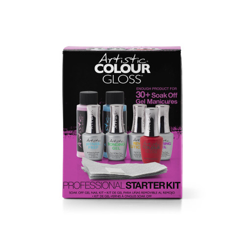 Artistic Colour Gloss Pro Starter Kit - Includes a Color, Top, Base, Cuticle Oil, Nail Prep, Cleanser, Remover & Wraps