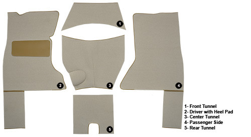 1953 - 1955 Corvette C1 Carpet Set Foam Loop