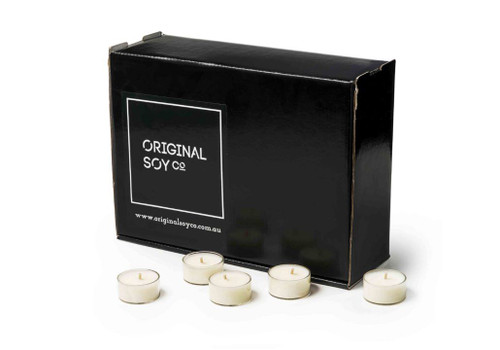 Soy Tea Light Candles - Clear Cups - Box of 100 - non scented