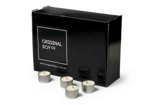 Soy Tea Light Candles - box of 100 - non scented - silver cups