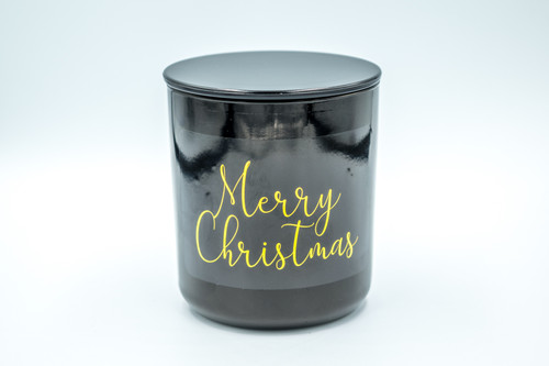 Gloss Black Merry Christmas Soy Candle - Medium