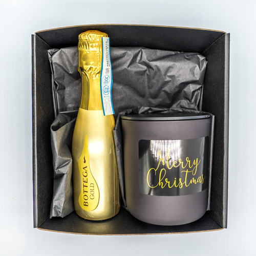Prosecco + Matt Black Large Christmas Candle Pack