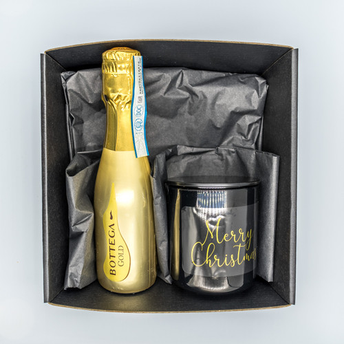 Prosecco + Gloss Black Medium Christmas Candle Pack