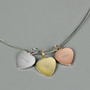 Personalised Gold, Rose Gold and Silver 3 Heart Necklace