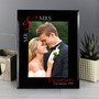 Personalised Ruby Couples 7 x 5 Black Glass Photo Frame