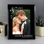Personalised Silver Couples 7 x 5 Black Glass Photo Frame