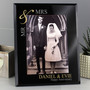 Personalised Gold Couples 7 x 5 Black Glass Photo Frame