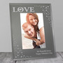 Personalised LOVE 6 x 4 Diamante Glass Photo Frame