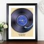 Personalised Retro Vinyl Black Framed Print
