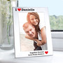 Personalised Silver 5 x 7 I Heart Photo Frame