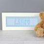 Personalised Blue Stitch Baby Name Frame