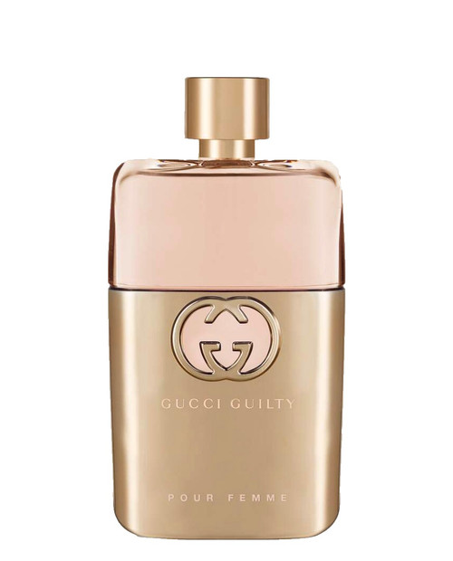 The Gucci Guilty collection enters a new chapter, reintroducing the original Pour Femme scent as a rich eau de parfum, combining superior floral notes and enhanced natural fragrances. Individual, yet fusing together naturally, the men's and women's perfumes embody a declaration of self-expression and fearlessness, conjured up by the statement #ForeverGuilty.  Top notes of Mandora—a fruit found in the Mediterranean island of Cyprus—smoothed out by natural Bergamot and Pink Pepper. Heart notes of Lilac, contrasted with rosy and violet notes, and layered with Geranium Oil, resulting in a nuanced blend. Base notes of Patchouli, combined with Ambery notes for an enduring sillage. Echoing the same shape as the counterpart men's fragrance, the Gucci Guilty Pour Femme bottle is partly wrapped in gold-toned metal, with a matching shimmering cap, reflecting the pale rose-tinted fragrance inside. The Interlocking G logo defines the front.
