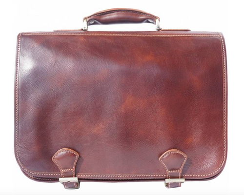 Leather briefcase with two compartments & double pockets on the front