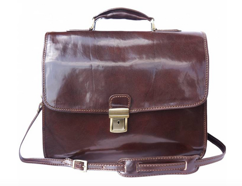 Leather Briefcase with Laptop Compartment