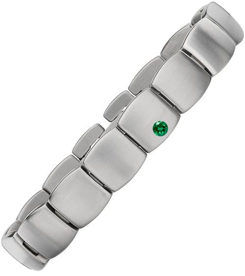 Gent's Titanium with Single Emerald
