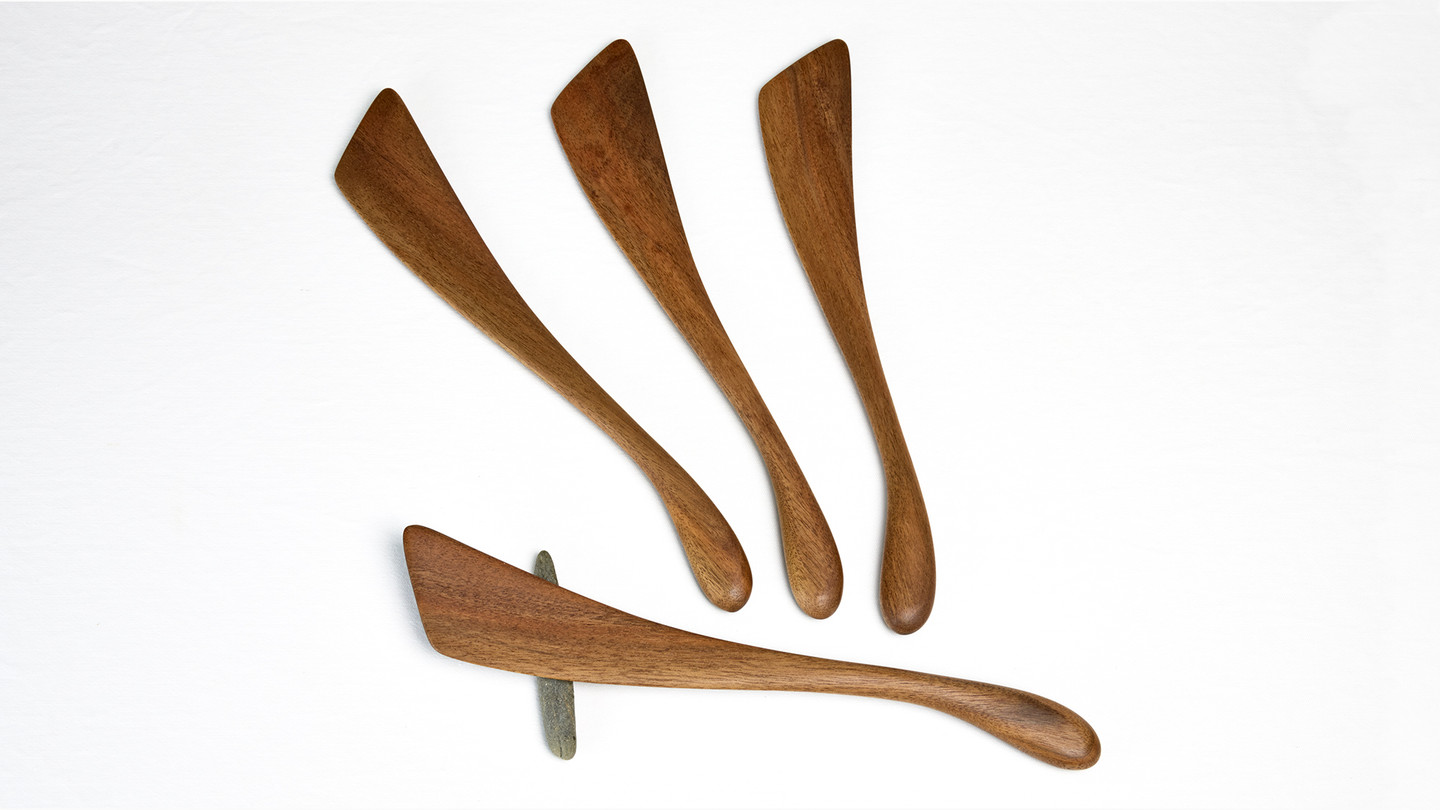 The Classic Stirrer  - a multi-purpose flat and slightly curved spatula kitchen utensil in wood by Bob Gilmour, Australia.