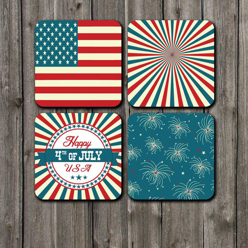 Vintage 4th of July Red White and Blue Coaster set by Blue Fox Gifts