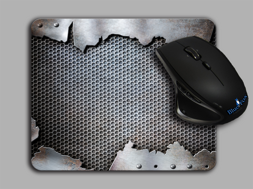 Blue Fox Gifts Cloth top mouse pad featuring a Grunge Metal Print