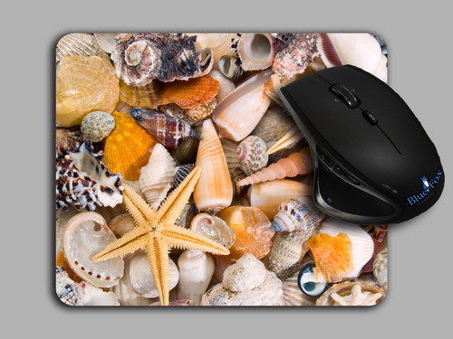 Blue Fox Gifts Cloth top mouse pad featuring a Photo real Seashell Print