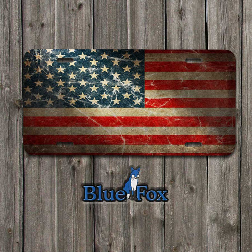 Blue Fox Gifts - Grunge American Flag Vanity License Plate.