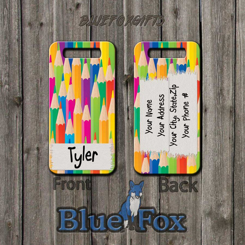 Colored Pencil Luggage tag by Blue Fox Gifts