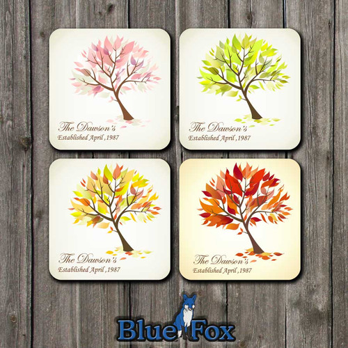 Personalized Four Seasons Wood Coaster set(4) by Blue Fox Gifts