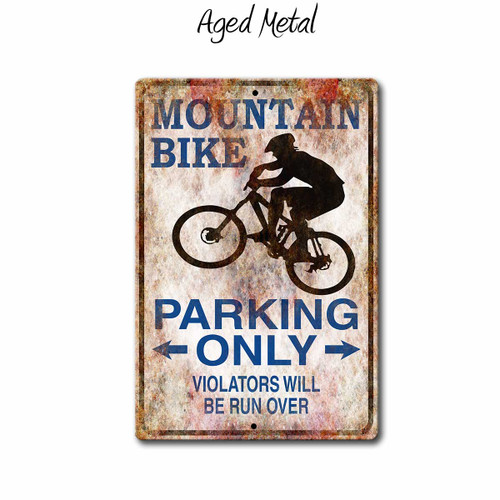 Mountain Bike Parking Only Sign, Aged Metal Style | Blue Fox Gifts