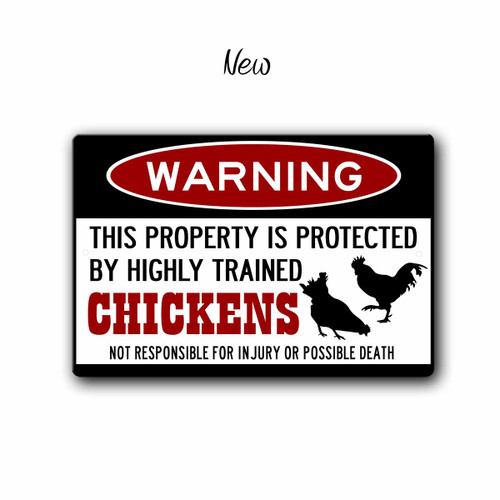 Funny Chicken Warning sign - New Style | Blue fox Gifts